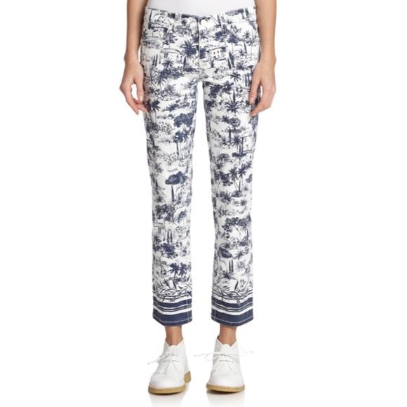 Tory Burch Pants - Tory Burch White Printed Crop Jeans